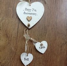 Shabby personalised Gift Chic Heart Plaque Anniversary Wedding 1st 10th 25th Etc